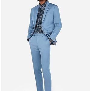 Express slim Light Blue Cotton-blend Stretch Suit